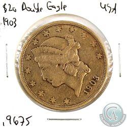 USA 1903-S $20 Liberty Head; Double Eagle Gold Coin. Coin contains 0.9675oz of Pure gold.