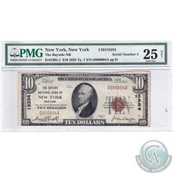 USA 1929 $10 National Currency, New York Issue (FR-1801-1/ CH#13334). Serial # D000004A. Jones-Wood.