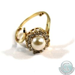Ladies 18-karat Yellow Gold w/one cultured pearl (7 mm) and 14 Diamonds (.03 carat full cut Diamonds
