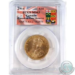 Canada 1914 $10 Canadian Gold Reserve PCGS Certified MS-63