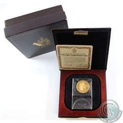 Canada 1976 $100 Montreal Olympic 22k Gold Coin in Original Box with COA. Outer box contains wear.