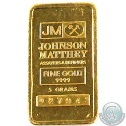 SCARCE  Johnson Matthey 5 gram Fine Gold Bar with 'JM Logo' (Tax Exempt). Serial # 027943