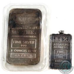 SCARCE  Johnson Matthey 5 gram & 2oz Fine Silver Bar Lot (Tax Exempt). The 5 gram bar, although simi
