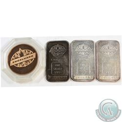 SCARCE  Engelhard 1oz Fine Silver Bars with Blank Reverse & 1979 Engelhard Copper Medal (Tax Exempt)
