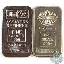 RARE  Engelhard & Johnson Matthey 1oz Fine Silver Bars (Tax Exempt). Both Early Examples of highly c
