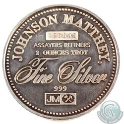 RARE  Johnson Matthey 2oz FOCUS MEDALIST Fine Silver Round (Tax Exempt). Serial # K20049