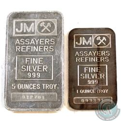 SCARCE Johnson Matthey 5oz & 1oz Fine Silver Bars with Blank Reverse (Tax Exempt). Both Early Exampl