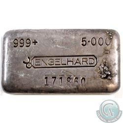 Ultra Rare  Engelhard 5oz Fine Silver Bar with 'Bull' Mark - 5th Series (Tax Exempt). This rare bar