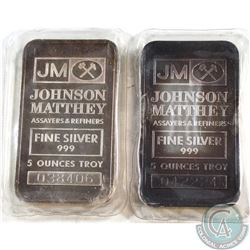Pair of Vintage Johnson Matthey 5oz Fine Silver Bars (Tax Exempt). Bars come in the original mint wr