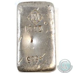 OLD POUR Johnson Matthey 10oz Fine Silver Bar (Tax Exempt). This example contains the small Logo wit