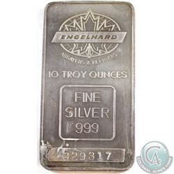 RARE  Engelhard 10oz Fine Silver Bar with TD Logo (Tax Exempt). Reverse of this bar contains the Tor
