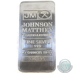 SCARCE  Johnson Matthey 10oz Fine Silver Bar (Tax Exempt). Although similar to other examples, This