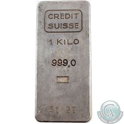 Vintage Credit Suisse 1 Kilo Fine Silver Bar (Tax Exempt). Serial # 31129