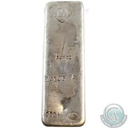 Ultra Scarce  Johnson Matthey 50oz Fine Silver Bar 'A Series' (Tax Exempt). This 50oz Bar Produced b