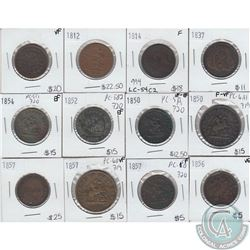 Group of Tokens 1812 to 1857. All coins attributed worth a good look, please view image. 12pcs