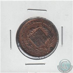 1886 Numismatist Card Montreal, Copper, Mintage of 86, weight 4.8 grams and a diameter of 25mm with