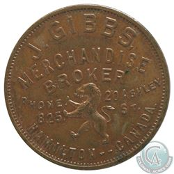Hamilton Ontario J. Gibbs Merchandise Broker token. 29 mm Diameter, 11.55 grams