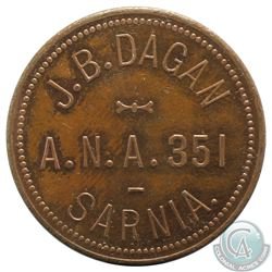 J.B. Dagan, Sarnia, ANA 351 Token. Diameter 28mm, weight 7.08 grams