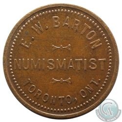 E.W Barton, Toronto Ont, Copper, Numismatist Token. 25 mm in Diameter, 5.26 grams.
