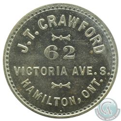 J.T Crawford, 62 Victoria ave South, Hamilton Ont, Numismatist card, 25 mm, weight 4.29 grams