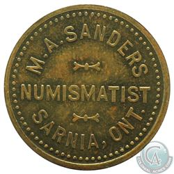 M.A. Sanders, Sarnia Ont., Numismatist card, Brass, 25mm, weight 4.77 grams