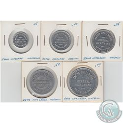 5x Jacob Uffelman General Merchant Waterloo, ONT. Tokens. Good For 5-cent, 10-cent, 25-cent, 50-cent