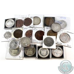Lot of Woodstock Coin Club Tokens and Medals - 7x Copper or Bronze, 8x Silver, 5x Nickel. 20pcs