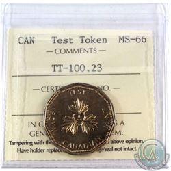 Test Token, TT-100.23 ICCS Certified MS-66  This dollar token was struck in 1986.
