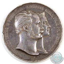 Medallion: Antique German Medal featuring the bust of Wilhelm Konig V. Preussen & Augusta Kon. 1854-