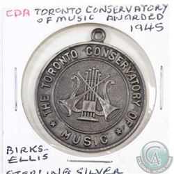 1945 Birks Sterling Silver Award Medallion from the Toronto Conservatory of Music, awarded to Grade