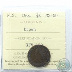 Nova Scotia 1/2-cent 1861 ICCS Certified MS-60 Brown