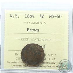 Nova Scotia 1/2-cent 1864 ICCS Certified MS-60 Brown