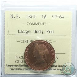 Nova Scotia 1-cent 1861 Large Bud ICCS Certified SP-64 Red. Rare coin, 1 of only 5 known  Coin has e