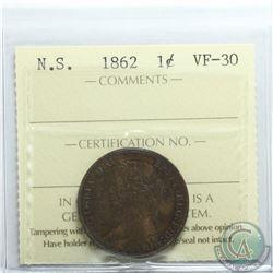 Nova Scotia 1-cent 1862 ICCS Certified VF-30