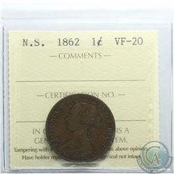 Nova Scotia 1-cent 1862 ICCS Certified VF-20