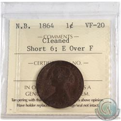 New Brunswick 1-cent 1864 Short 6; E over F ICCS Certified VF-20. Cleaned.
