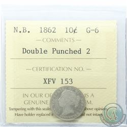 New Brunswick 10-cent 1862 Double Punched 2 ICCS Certified G-6
