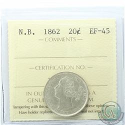 New Brunswick 20-cent 1862 ICCS Certified EF-45