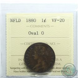 Newfoundland 1-cent 1880 Oval 0 ICCS Certified VF-20