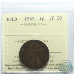 Newfoundland 1-cent 1885 ICCS Certified VF-20