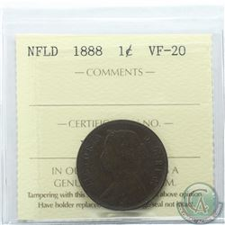 Newfoundland 1-cent 1888 ICCS Certified VF-20