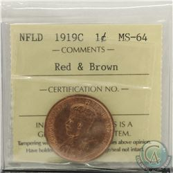 Newfoundland 1-cent 1919C ICCS Certified MS-64 Red & Brown. Coin is over 80% Red with attractive lus