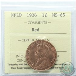 Newfoundland 1-cent 1936 ICCS Certified MS-65 Red.
