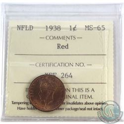 Newfoundland 1-cent 1938 ICCS Certified MS-65 Red. Coin has nice mint lustre.