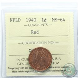 Newfoundland 1-cent 1940 ICCS Certified MS-64 Red. Lustrous red coin, 1 of only 13 known