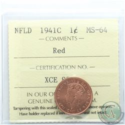 Newfoundland 1-cent 1941C ICCS Certified MS-64 Red