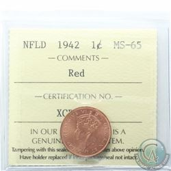 Newfoundland 1-cent 1942 ICCS Certified MS-65 Red. Rare coin being 1 of only 2 known and tied for hi