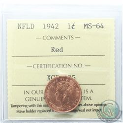 Newfoundland 1-cent 1942 ICCS Certified MS-64 Red
