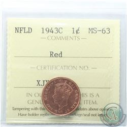 Newfoundland 1-cent 1943C ICCS Certified MS-63 Red