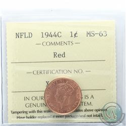 Newfoundland 1-cent 1944C ICCS Certified MS-63 Red. Scarce coin being 1 of only 10 known and tied fo